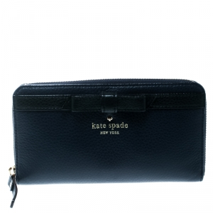 Kate Spade Blue Leather Bow Zip Around Wallet