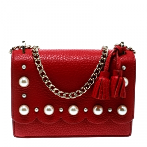 Kate Spade Red Leather Hayes Street Hayzel Pearl Shoulder Bag