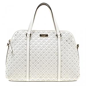 Kate Spade White Perforated Leather Newbury Lane Top Handle Bag