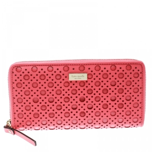 Kate Spade Pink Perforated Leather Newburry Lane Caning Zip Around Wallet