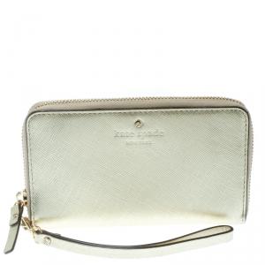 Kate Spade Gold Leather Cedar Street Zip Around Wallet
