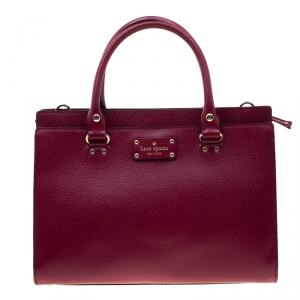 Kate Spade Magenta Leather Wellesley Durham Top Handle Bag