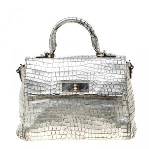 Kate Spade Silver Croc Embossed Leather Top Handle Bag