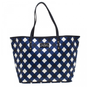 Kate Spade Blue/ White Harmony Gingham Shopper Tote