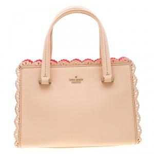 Kate Spade Beige Leather Perforated Lace Satchel