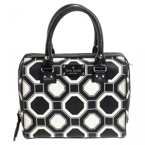 Kate Spade Black/White Leather Boston Bag