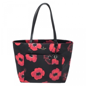 Kate Spade Black/Red Floral Print Leather Hyde Lane Riley Tote