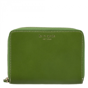Kate Spade Green Leather Small Zip Around Wallet