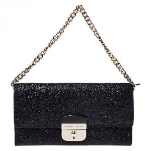 Kate Spade Black Glitter Leather Lane Milou Wallet On Chain