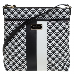 Kate Spade Black/White Coated Canvas Crossbody Bag