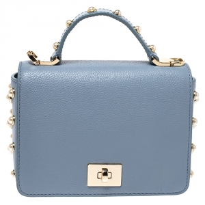 Kate Spade Light Blue Leather Pearl Embellished Maisie Serrano Crossboby Bag