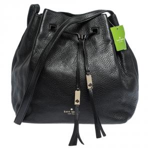 Kate Spade Black Leather Grey Street Drawstring Bag