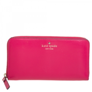 Kate Spade Pink Leather Lacey Zip Around  Wallet