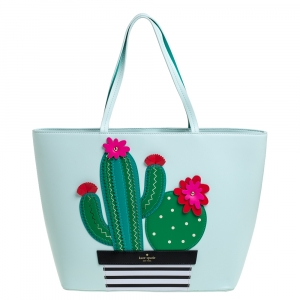 Kate Spade Pale Green Leather New Horizons Cactus Shopper Tote