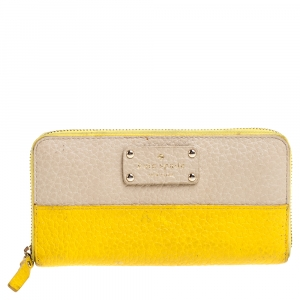 Kate Spade Yellow/Beige Leather Grove Court Lacey Zip Around Wallet