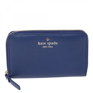 Kate Spade Blue Leather Zip Around Wallet