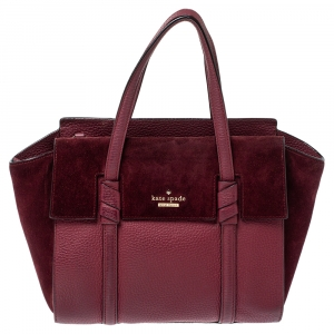 Kate Spade Burgundy Leather and Suede Abigail Tote