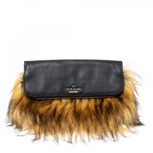 Kate Spade Black/Brown Faux Fox and Leather Belles Clutch