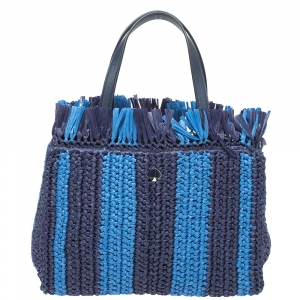Kate Spade Two Tone Blue Sam Stripe Straw and Leather Medium Tote