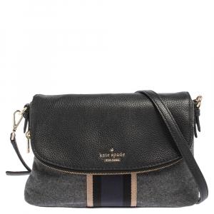 Kate Spade Black/Grey Leather and Wool Jackson Street Harly Shoulder Bag