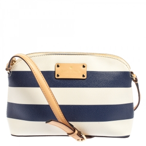 Kate Spade White/Blue Stripes PVC and Leather Wellesley Hanna Crossbody Bag
