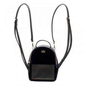 Kate Spade Black/Blue Leather and Velvet Mini Watson Lane Merry Backpack