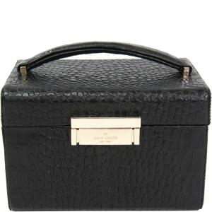 Kate Spade Black Embossed Leather Madison Avenue Collection Vanity Box