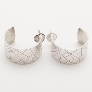 KENZO Silver Small Engraved Hoop Earrings