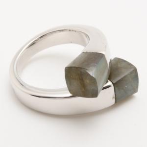 KENZO Kyoto Twist Labradorite Silver Ring Size 54