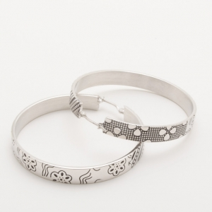 KENZO Silver Large Engraved Hoop Earrings