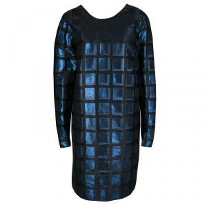 Kenzo Blue and Black Metallic Square Jacquard Long Sleeve Shift Dress L
