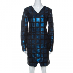 Kenzo Blue and Black Metallic Square Jacquard Long Sleeve Shift Dress M