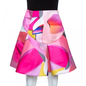 Kenzo Multicolor Printed Satin Pleated Skirt S