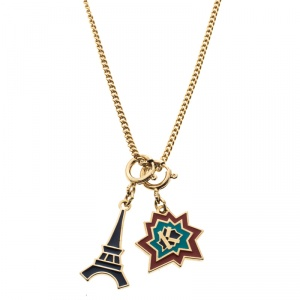 Kenzo Enamel Gold Tone Dual Charm Chain Necklace