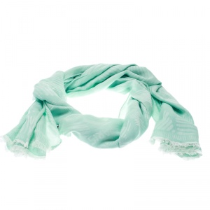 Kenzo Mint Green and White Tiger Logo Detail Jacquard Fringed Edge Scarf