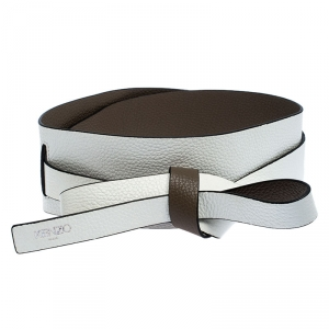 Kenzo White/Brown Leather Reversible Wrap Waist Belt