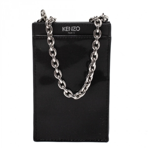Kenzo Black Perforated Patent Leather Phone Bag