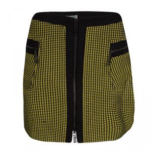 Kenzo Yellow and Black Textured Waffle Knit Zip Detail Mini Skirt M