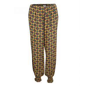 Kenzo Yellow Printed Smocked Hem Detail Elasticized Waist Pants M