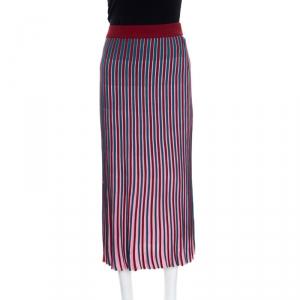 Kenzo Multicolor Striped Knit High Waist Midi Skirt M