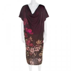 Kenzo Bicolor Floral Jacquard Knit Oversized Shift Dress L - used