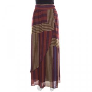 Kenzo Multicolor Striped Faux Wrap Maxi Skirt L