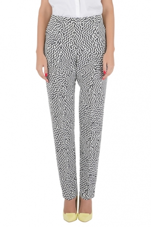 Kenzo Monochrome Chevron Print Crepe Tapered Trousers M