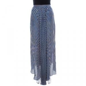 Kenzo Blue and Yellow Striped Silk Asymmetric Hem Skirt M