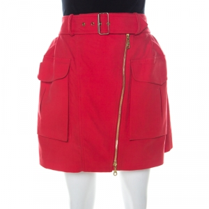 Kenzo Red Cotton Asymmetric Zip Front Belted Cargo Skirt M