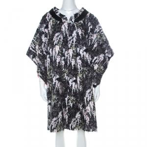 Kenzo Defilé Black Floral Print Textured Cotton Oversized Shift Dress L - used