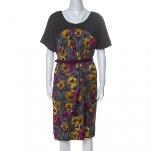 Kenzo Grey Floral Brushstroke Print Stretch Cotton Belted Dress M - used