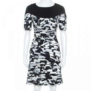 Kenzo Black Spray Striped Stretch Crepe Short Dress M - used
