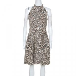Kenzo Beige Animal Pattern Jacquard Sleeveless Dress S - used