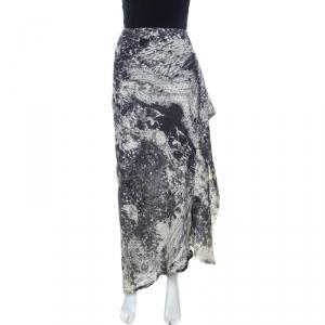 Kenzo Bicolor Abstract Print Wool Ruffle Detail Maxi Skirt M